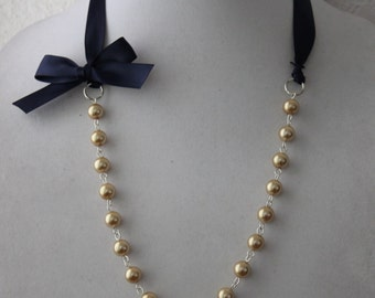 Gold Pearl and Navy Blue Ribbon Bow Necklace