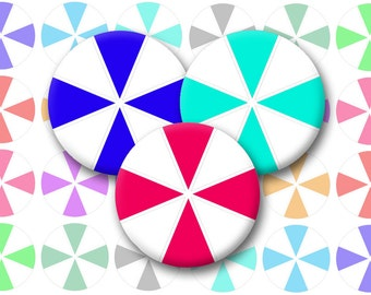 Pinwheel Bottlecap Images / Colorful Jewel Tones / Triangle Pattern / Peppermint Candy Motif / Printable 1-Inch Circles / Instant Download