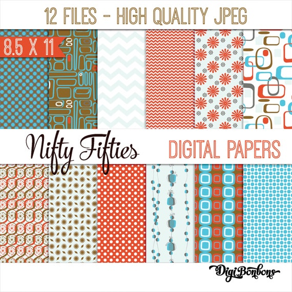 digital paper retro 1950s in 8 5 by 11 in printable pages