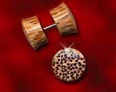 Coco Wood, Fake Plugs, Coconut Wood, Tribal Plugs, Fake Gauge Earrings, Cheaters, Split, Organic, Handmade, Natural - SP1