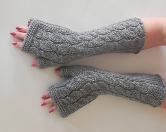 GRAY LONG Fingerless Gloves, Arm Warmers, Hand Knitted,