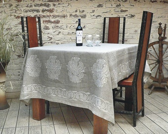 Linen Flax Tablecloth Grey Gray Metallic Silver Size 59 inches x77 inches Handmade - ready to send