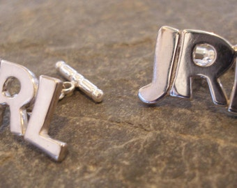 Personalised Sterling Silver Initials Letters Mens Mans Cufflinks (choose the letters you require)