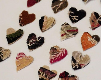 Crazy Quilt Appliques, Wool Primitive Tiny Hearts, Antique Tattered Shabby Cutter Quilt Embellishments 4 Crafting itsyourcountry