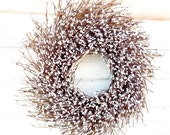 ANTIQUE WHITE TWIG Wreath-Winter Door Wreath-Rustic Wreath-New Years Wreath-Spring Home Decor-Scented Vanilla Sugar-Choose your Scent - WildRidgeDesign