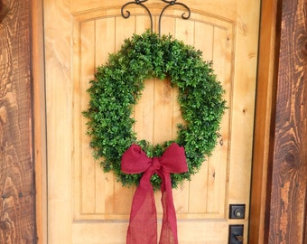 Winter Wreath-BOXWOOD Wreath-Valentine Door Wreath-Artificial Boxwood Wreath-Burlap Wreath-Large Door Wreath-Year Round Outdoor Wreath