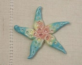 Handmade Porcelain Starfish Focal Bead in Rainbow Pastels
