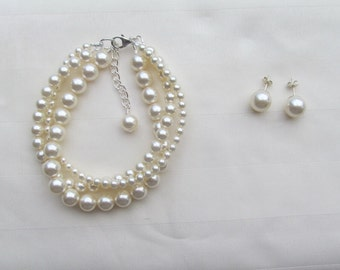Bridal Jewelry Set Ivory Multi-strand Pearl Bracelet and Post Earrings Swarovski Cream Pearl Wedding Jewelry Set