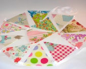 Oilcloth Bunting, Garden Bunting,Home Decor, Cottage Chic Bunting