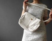 80s White Genuine Leather Shoulder Bag, Slouchy Handbag Medium,