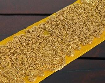 1 Yard Yellow Fabric Trim-Embroidered Floral Design-Gold Thread Work Sari Border-Yellow Silk Sari Border Trim By The Yard