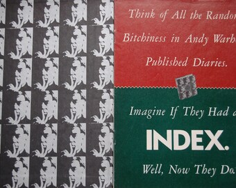 RARE SPY Magazine Exclusive Unauthorized Index to Andy Warhol's Diaries and a copy of the Andy Warhol Diaries 1989