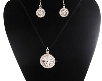 Timepiece Pendant w/ Earrings