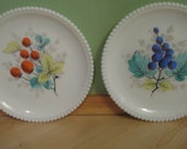 Set of 2 Vintage Westmoreland MilkGlass Plates/Fruits with Beaded Edge/Housewares/Dessert Plates