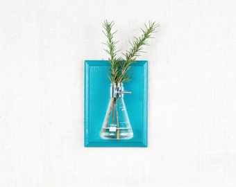Wall Vase - Turquoise Hanging Vase, Bud Vase - Gift Wrapped - Wall Sconce Vase - Science Chic, Glass Flask, Aqua, Ocean