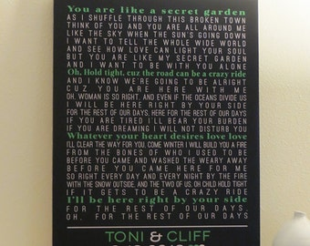 Wedding Anniversary CANVAS Art, Wedding Gift (wedding song, lyric art, first dance, vows) black and green, custom colors