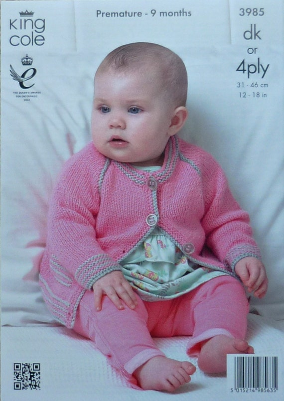 Baby Knitting Pattern K3985 Babies Round Neck Long Sleeve
