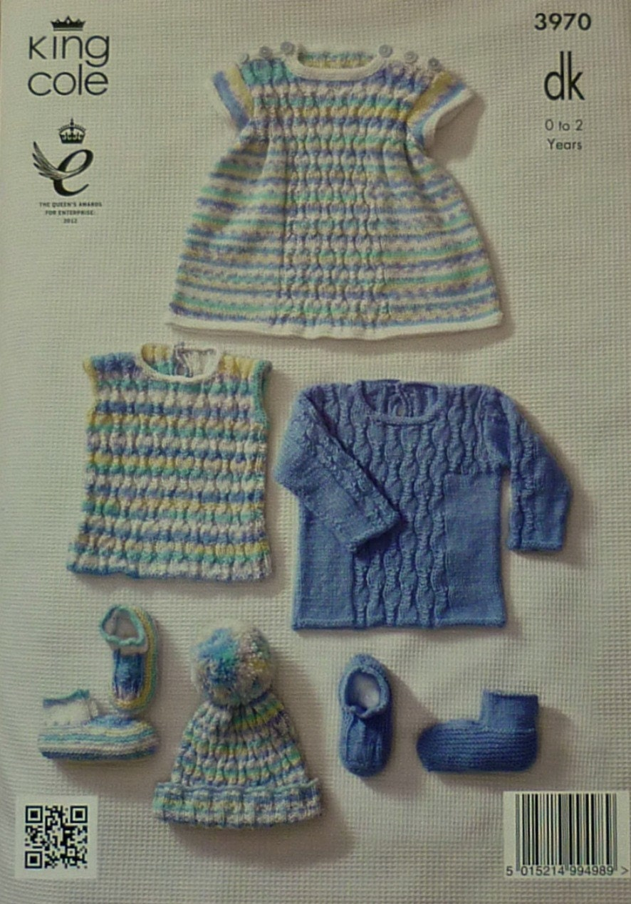 Baby Knitting Pattern K3970 Babies Jumper, Top, Dress, Hat and Bootees Knitti...