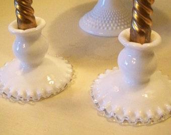 Fenton Silver Crest Candlesticks Candle Holder Pair  Great For Weddings Elegant Entertaining White Decor Vintage Wedding Table Decor