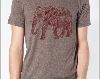Elephant Tapestry - Indian Tribal Print Unisex T shirt - American Apparel Tee Tshirt  9 COLORS Full Spectrum Apparel