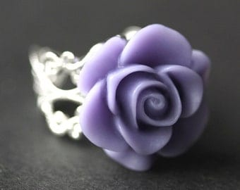 Lavender Rose Ring. Light Purple Flower Ring. Gold Ring. Silver Ring. Bronze Ring. Copper Ring. Adjustable Ring. Handmade Jewelry.