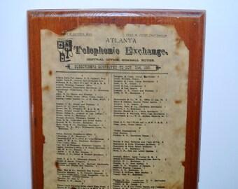 Vintage Atlanta Telephone Exchange Wood Plaque