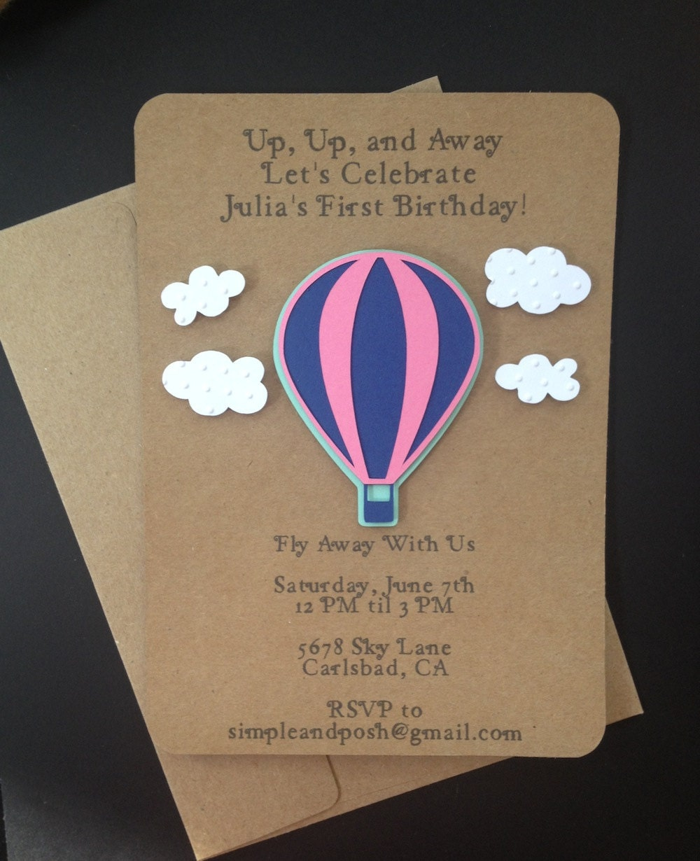 Hot Air Balloon Invitations Handmade And Custom By