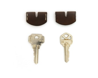 Leather Key Cover - Dark Brown