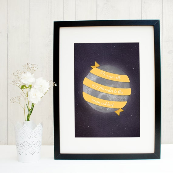 I love you all 477,714 Miles to the Moon and back - Typographic Space Art Print - Valentines Gift - To the moon and back - I love you