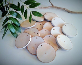 TREASURY ITEM - 50 Natural White birch discs - Name tags - Birch tree slices - Gift tags -  Holiday tags - Holiday ornaments