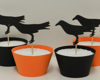Black Crow Cupcake Toppers HALLOWEEN