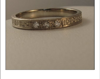 Estate 14k Engraved Diamond Eternity Wedding Band
