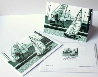 5 Dorset Greetings cards - from my original Linocut Landscapes