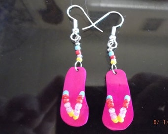 "Hot Pink Spring Flip Flop Beaded Earrings Fun in the Sun ""SO Cute"" Native, Southwestern, Hippie, Boho, Gift Summer Wear, Short Earrings"