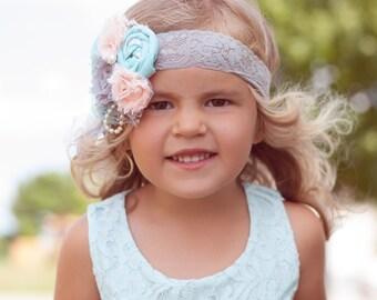 Mint Green, Gray, and Blush Flower Headband - Photo Prop - Baby Headband - Flower Girl Headband