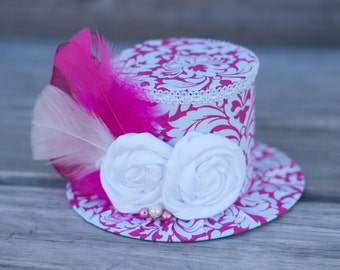 Mini Top Hat  - Alice in Wonderland -  Hot Pink and White Damask  Birthday Hat Photography Prop