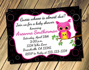 Owl Baby Shower Invitation Print Your Own