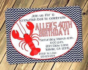 Craw Fish Boil Birthday Invitation Print Your Own