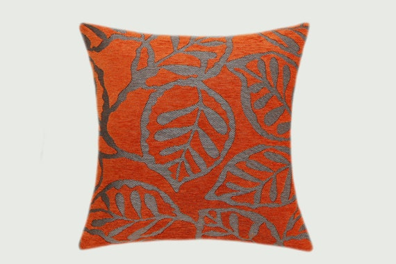 decorative pillow case orange grey textured fabric with. Black Bedroom Furniture Sets. Home Design Ideas