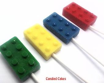 10 OPAQUE BRICK Lollipops - Hard Candy - Brick Lollipops