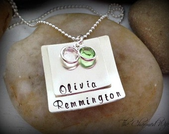 Square Hand Stamped Mommy Jewelry- Mother's Day Gifts- Kids names - Birth Stones - Trendy Mommy Necklace