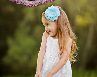 Ranunculus flower headband , rhinestone flower headband, baby girl headband, blue , photo prop , blue headband, flower girl headband