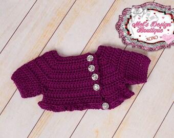 Purple sweater shrug, baby girl crochet sweater, baby girl sweater, crochet baby shrug , crochet sweater, baby bolero, sweater, shrug
