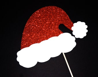 Sparkle Santa Hat - Christmas Photo Props - GLITTER Photobooth Props - Santa Hat Photo Booth Prop