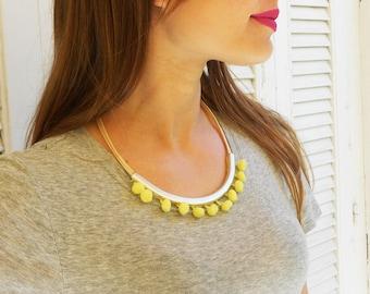 Pom pom Necklace , Yellow Necklace  , Silver Necklace , Short necklace , Ponpon necklace , Pom pom jewelry , Statement Necklace , Boho jewel