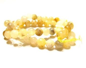 1 Strand Faceted 8mm Yellow Jade,  Round Stone Beads, Natural Stone-   48 Beads