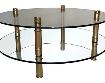 Brass Faux Bamboo Cocktail Table