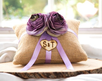 Purple ranunculus natural burlap personalized ring bearer pillow  shabby chic with engraved initials... many more colors available