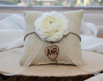 White Ranunculus flower custom ivory burlap ring bearer pillow  shabby chic with engraved heart  initials... many more colors available