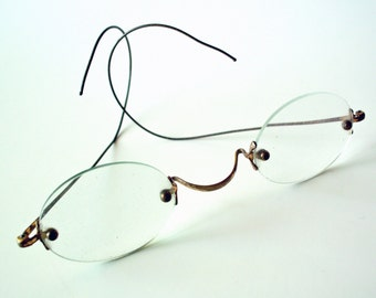 Vintage Wire Rimmed Glasses with Tin Case, Steampunk